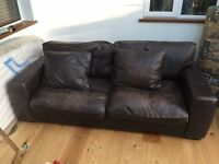 Free four seater leather settee, pick up asap 82 inche long and 42 from front to back