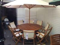 teak garden furniture table and 8 chairs umbrella