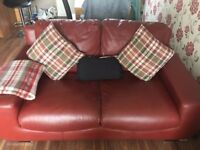 3 & 2 Seater Real Leather Sofas Red