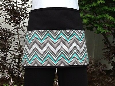 Black 3 pocket Chevron waitress waist Half apron  Server resturants Classyaprons
