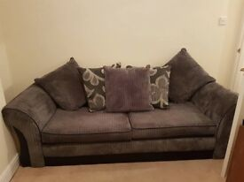 Large 4 Seater Scatter Back Grey Cordory Sofa
