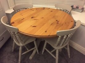 Circle Wooden Table and Chairs