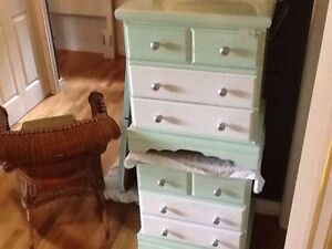Green & white bed side table set. $45 each or 2/$80