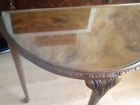 Half moon 1960's Small Oak wooden table