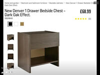 New denver 1 drawer bedside chest
