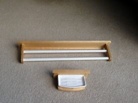 Double towel rail with matching soap dish