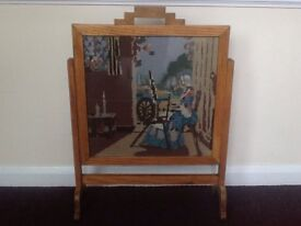 Vintage restored solid oak fire screen in art deco style
