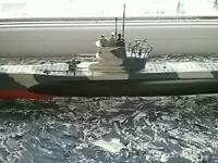 German U-boat model sea scene diorama