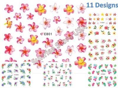 11 Designs 3D Nail Art Sticker Hawaii Flower Leaves Plumeria Decals Manicure DIY - Flowers Designs Nail Art