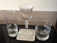 Johnsons eternal beau 18 piece glassware with matching coasters
