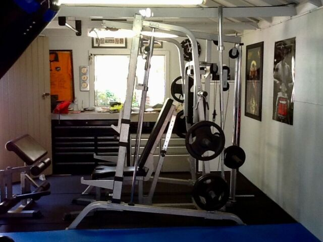 Smith machine power rack gym plus mats and pictures