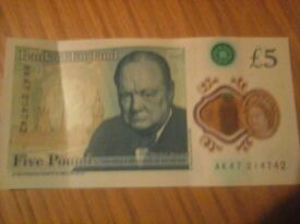 Rare £5 Five Pound Note AK47