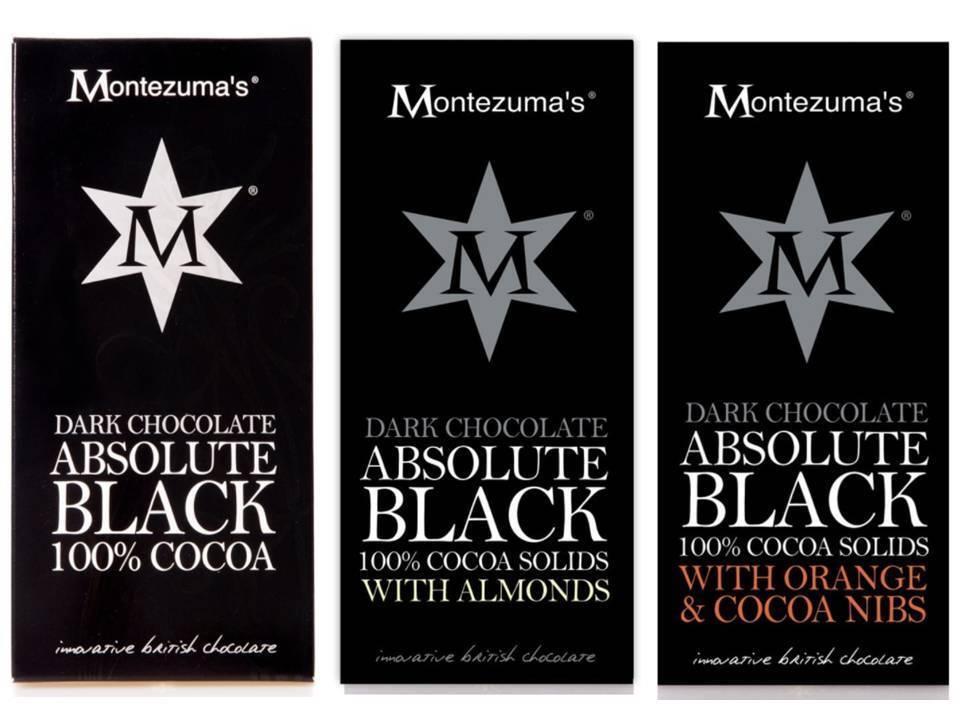 Montezuma's ABSOLUTE NERO RANGE 100% cacao ,MANDORLE & Arancione & PENNINI 100g