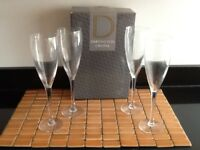 4 x BRAND NEW DARTINGTON CRYSTAL CHAMPAGNE GLASSES