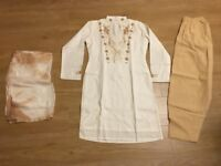 White and cream Asian dress suit size 10-12
