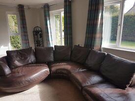 Leather Corner Sofa - Dark Brown - Seats 5 people easily - Splits into 3 parts