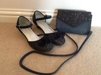 Girls navy sparkly shoes and matching bag (size 1)