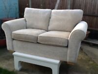 Two seater sofa in chenille material natural colour