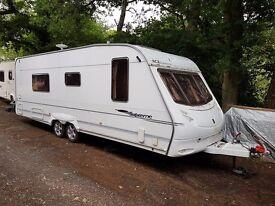 Ace Supreme Twinstar 4 Berth caravan Twin Axle FIXED BED, Awning VGC Bargain !