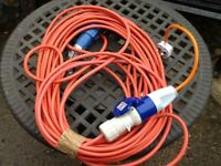 Caravan/trailer tent etc mains hook up lead with mains adaptor approx 20m