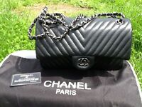 CHANEL BAG LIMITED EDITION CHEVRON MEDIUM METALLIC BLACK HARDWARE BRAND NEW WITH DUSTBAG AND CARDSw