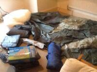 Like new tent,coke fridge,2 double pump up beds,power plugs ,sleeping bag,new quilt