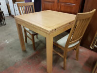 Modern wooden extending table and 2 chairs