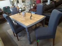 Beech / grey dining table £195 Chairs EXTRA. LOW COST MOVES 2nd Hand Furniture STALYBRIDGE SK15 3DN