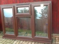 Upvc brown wood grain window