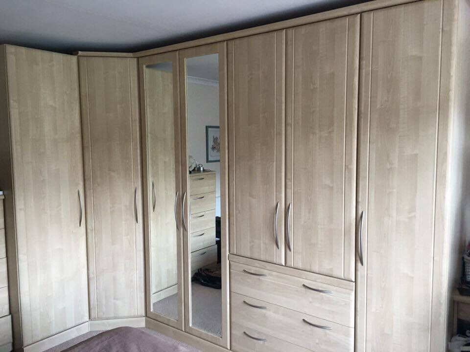 Large L Shaped Wardrobe With Mirrored Doors And Matching