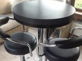 Bistro high table & two black leather stools