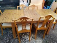 large extending pine dining table and 6 chairs - free delivery