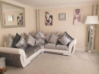BRAND NEW SHANNON WHITE AND SILVER CORNER SOFA AVAILABLE IN STOCK AS WELL