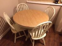 Shabby chic'd wooden table and 4 chairs