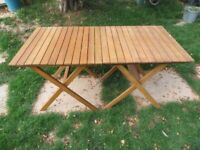 Pair of hardwood folding tables