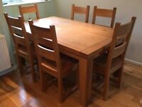 Solid Oak Table and 6 Chairs and Kitchen Unit