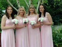 3 pink bridesmaids dresses with pearl