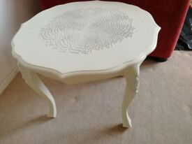Beautiful Wood Table painted white/ cream and varnished
