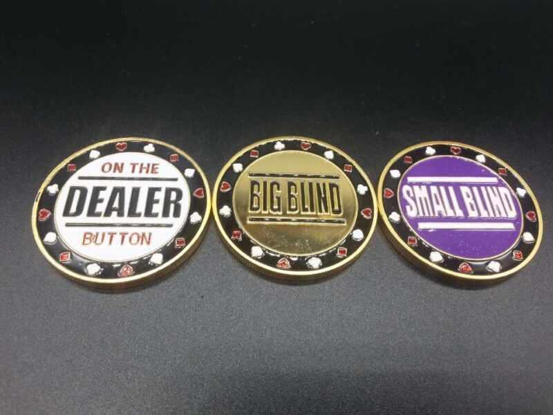 Metal Big Blind, Small Blind & Dealer Button,Poker buttons,Texas hold