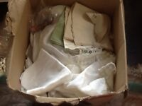 Vintage linen sheets tablecloth doillies napkins traycloth very large box