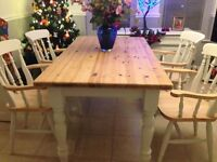 beautiful rustic farmhouse /shabby chic table with draw and x4 chunky chairs