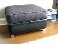 Black Leather and Fabric Sofas with matching Footstool