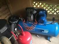Air compressor and sandblasting kit