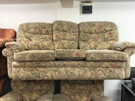 Beige Floral Suite - 3 Seater and Two Armchairs