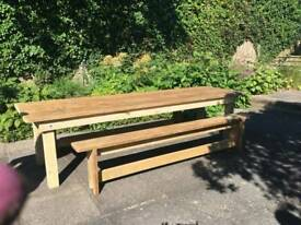 Reclaimed Scaffold 10ft table & benches
