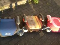 Graco booster seats with fold-in/out cup holders -several available-all washed-any one £10 each