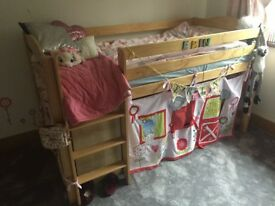 Izziwonot Tempo Raised Mid Sleeper Bed + Luxury Bedding + Playhouse Curtains + Pictures Bundle