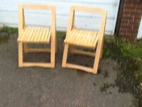 2 X Beech Stacking Chairs