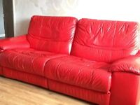 Red leather 3 seater double recliner sofa
