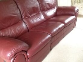 Maroon leather sofa for sale